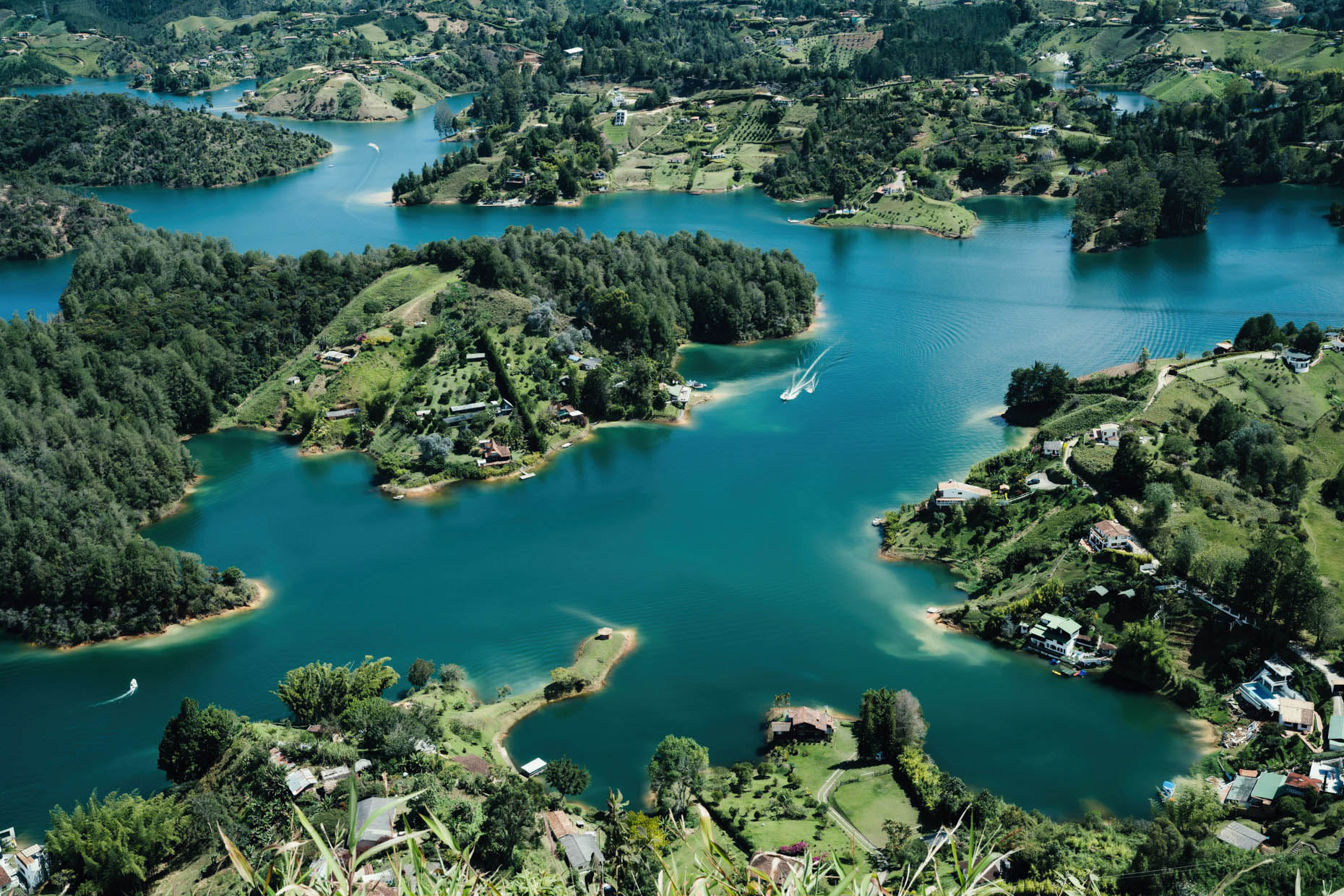Inti St Clair overhead view of Andean mountains and lakes in Antioquia Colombia