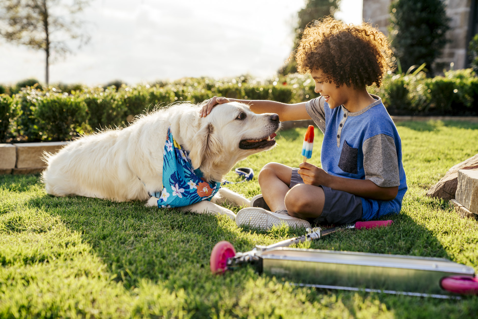 Boy sitting in yard petting dog and eating popsicle