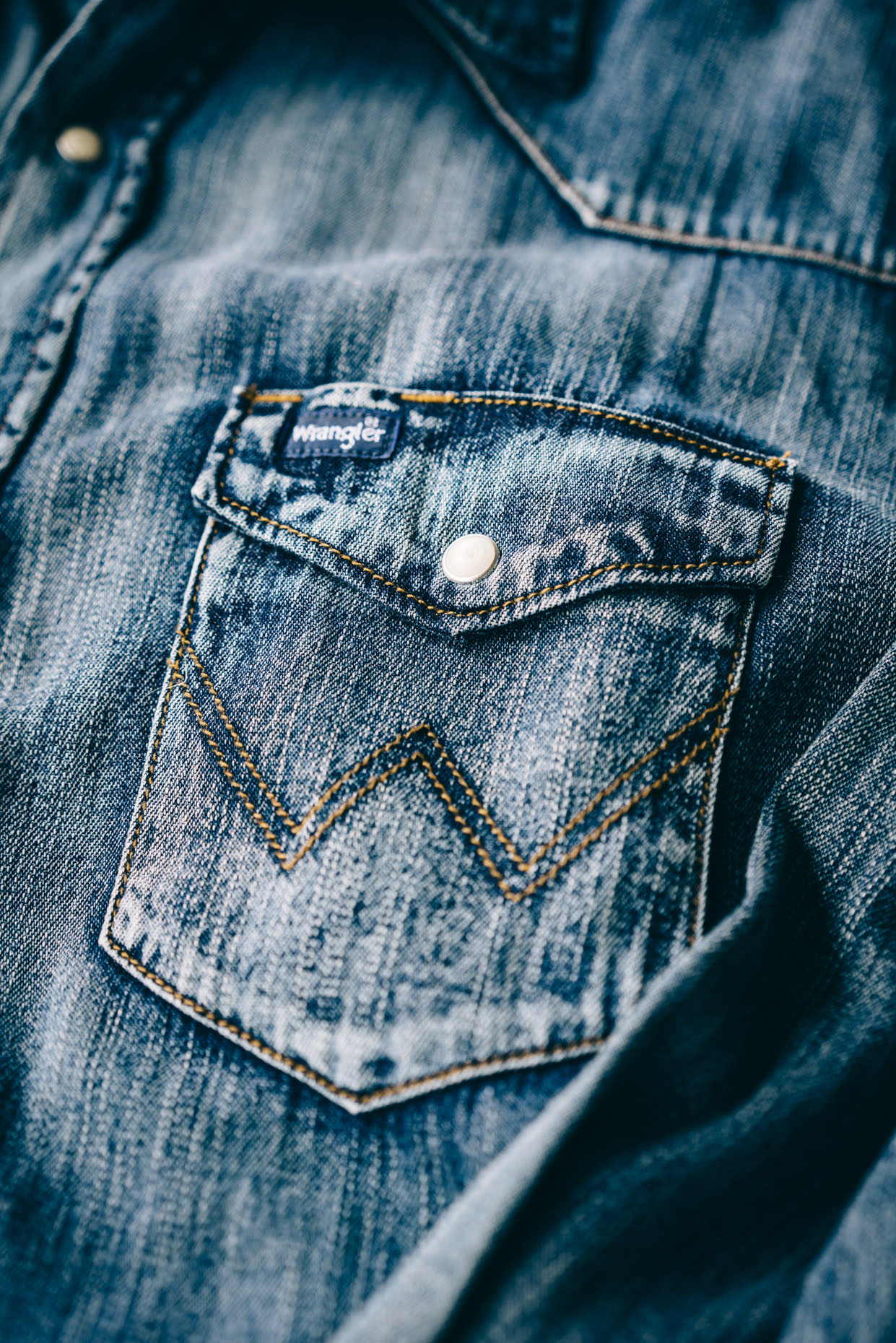 Close up of Wrangler Denim Shirt