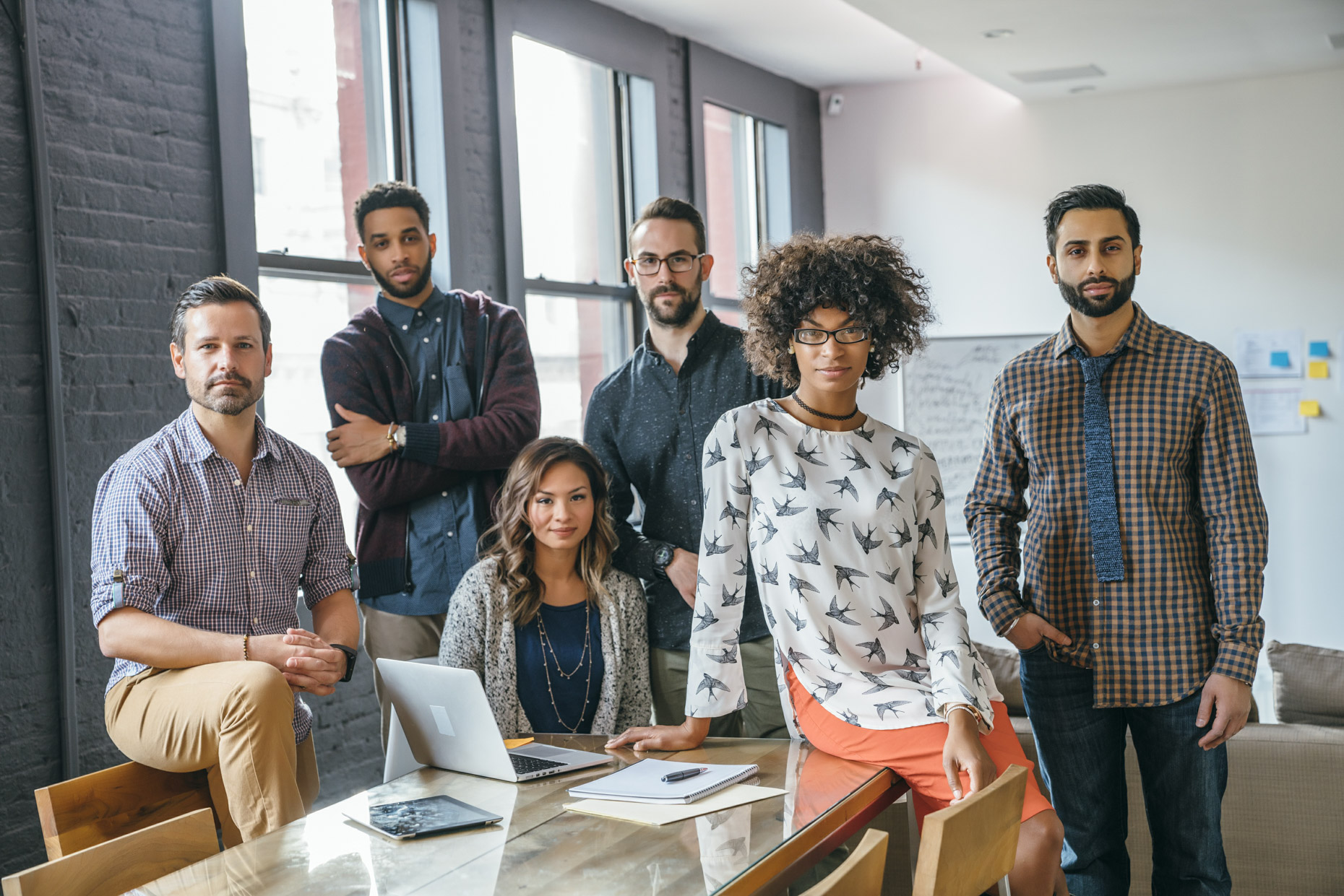 Diverse group of millennial coworkers in office
