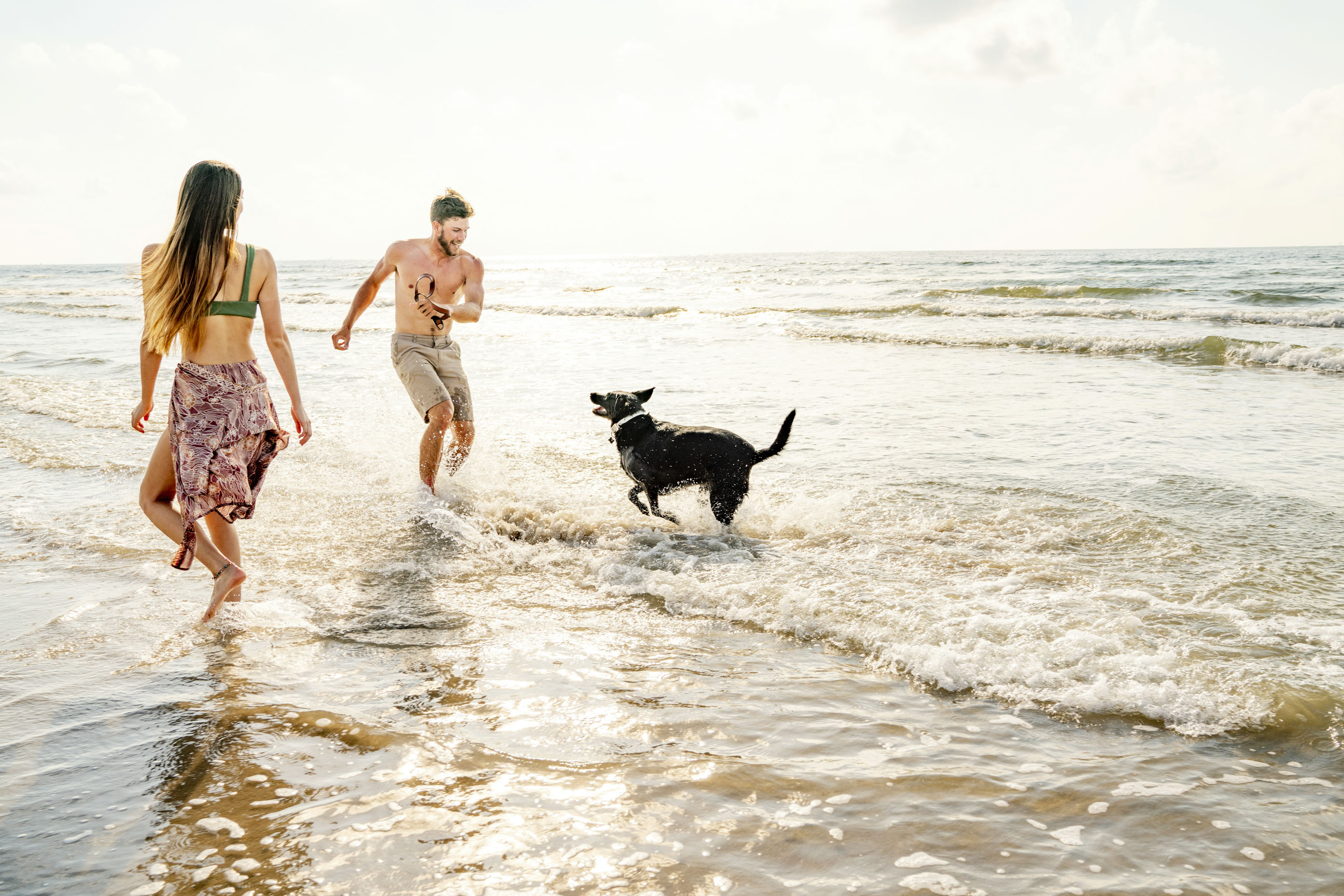 Palmilla-Beach-Resort-Couple-playing-with-dog-in-ocean-Inti-St-Clair